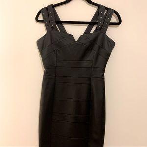 Black Satin double Straps Mini Dress
